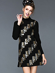 Women Winter Fashion Elegant Vintage Luxury Europe Style Embroidery Sequins Plus Size Slim Long Sleeve Dress