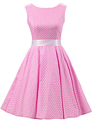 Women's Pink White Mini Polka Dot Dress , Vintage Sleeveless 50s Rockabilly Swing Short Cocktail Dress