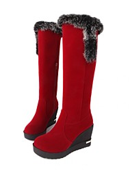 Women's Spring / Fall / Winter Wedges / Fashion Boots Fleece Dress / Casual Wedge Heel Fur / Zipper Black / Brown / Red