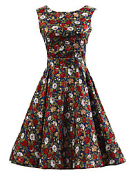 Women's Dark Blue Floral Dress , Vintage Sleeveless 50s Rockabilly Swing Short Cocktail Dress