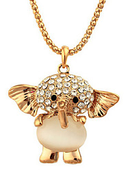 Lucky Doll Women's All Matching Crytal Zirconia Elephant  Long Necklace