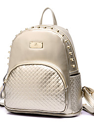 Women PU Bucket Backpack / School Bag / Travel Bag - White / Blue / Gold / Black