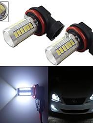2pcs caché blanc h11 H8 33-5730-SMD LED pour remplacer les ampoules feux diurnes voiture de brouillard 12-24v
