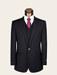 Suits Standard / Slim Fit Notch Single Breasted One-button Wool / Viscose Solid 2 Pieces Black