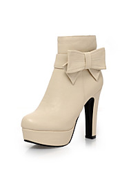 Women's Shoes Chunky Heel Platform / Round Toe Boots Party & Evening / Dress Black / Pink / Gray / Beige