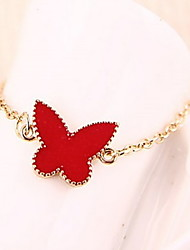 Fashion Ladies Red Butterfly Clover Heart Bracelet Jewelry Charm Bangle