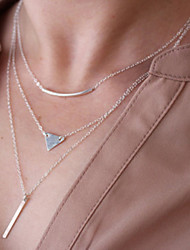 Women's Simple Gold Plated Metal Strip Pendant Chain Bar Necklace