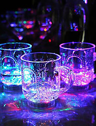8 * .9.7cm 285ml Рождество красочный свет вспышки стеклопластик индукции стакана воды, чтобы пролить свет Светодиодная лампа 1шт