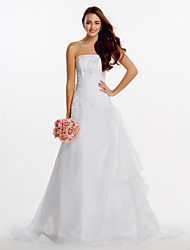 A-line Wedding Dress Court Train Strapless Organza with