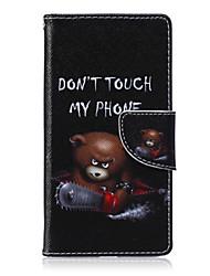 urso motosserra pintado caso de telefone pu para Huawei p8 Lite