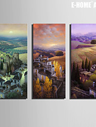 E-HOME® Stretched Canvas Art Fields And Small Villages Decoration Painting  Set of 3