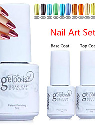 yemannvyou®3pcs (revestimento 5ml, 1pcs unha polonês + 1pcs base + 1pcs top coat) de metal de cor uv gel no.1-12 polonês