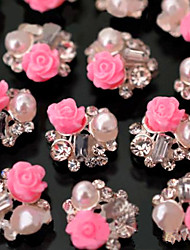 10pcs/set Nail Art Decoration Tips Glitter Rhinestone Pink Rose Flower decoration
