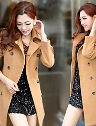 Winter Women's Solid Color Blue Coats & Jackets , Sexy / Beach / Casual Tailored Collar Long Sleeve