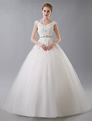Ball Gown Wedding Dress - Ivory Floor-length V-neck Tulle