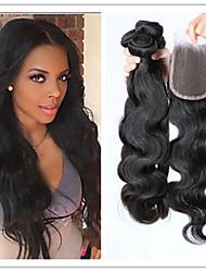 4pcs / lot virgem onda do corpo cabelo brasileiro de 100% com fechamento superior rendas mistas comprimentos de 8 polegadas a 34 polegadas