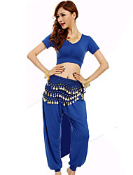 Belly Dance Outfits Women's Performance Spandex / Polyester / Milk Fiber Draped 2 Pieces 4 Colors
