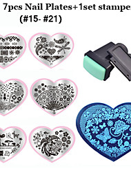2016 New Love Heart Shape 7pcsNail Art Stamping Plates Mold+ 1set Nail Stamper Scraper  (15-21)