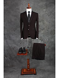Suits Tailored Fit Notch Single Breasted Two-buttons Cotton Blend Solid 2 Pieces Chocolate