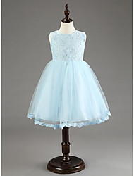 Ball Gown Knee-length Flower Girl Dress - Chiffon Sleeveless with