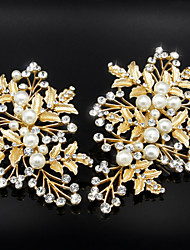 Golden Olive leaves with Pearl Crystal Barrette for Wedding Hair Jewelry(2 pcs/set)