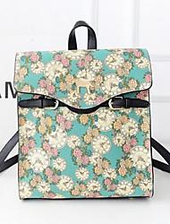 Women Canvas Bucket Backpack - Green / Black