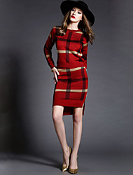 Women's Striped Blue / Red / Green Dress , Bodycon / Print Long Sleeve