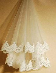 Wedding Veil One-tier Blusher Veils / Fingertip Veils Lace Applique Edge Tulle Ivory White / Ivory