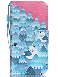 hzbyc®forest motif de bonhomme de neige PU carte des matériaux cas de cordon pour iphone 5c