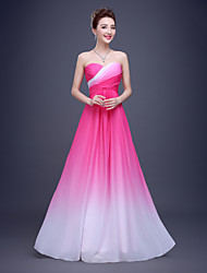 Formal Evening Dress - Color Gradient A-line Sweetheart Floor-length Chiffon with Draping Side Draping