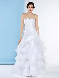A-line Wedding Dress - White Floor-length Strapless Organza / Taffeta