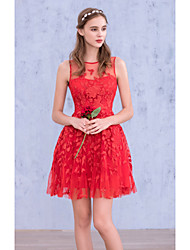 Cocktail Party Dress Ball Gown Jewel Short / Mini Georgette with