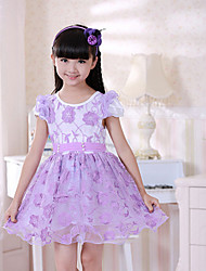 Girl's Pink / Purple Dress,Floral Spandex Summer