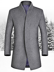 Men's 2016 New Winter Business Casual Collar Cashmere Wool Coat Slim Long Jacket
