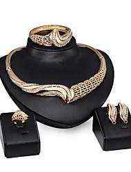 Schmuck 1 Paar Ohrringe 1 Armreif Halsketten Ringe Strass Hochzeit Party Aleación Strass 1 Set Damen Goldfarben Hochzeitsgeschenke