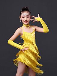 Dança Latina Vestidos Crianças Actuação Poliéster 4 Peças Sem Mangas Alto Vestido Luvas Neckwear