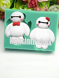 2 in 1 Cute White Robot DIY Silicone Chocolate Pudding Sugar Cake Mold