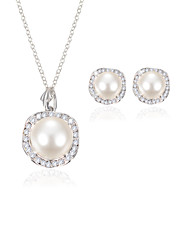 Jewelry Set Pearl Simulated Diamond Bridal White Wedding Party Daily Casual 1set 1 Necklace 1 Pair of Earrings Wedding Gifts