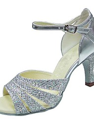 Non Customizable Women's Dance Shoes Latin/Swing /Salsa / Samba Leatherette/Sparkling Glitter Stiletto HeelBlack/Silver/