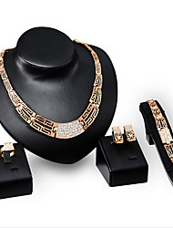 May Polly Hot fashion plated 18K Gold Diamond Necklace Earrings Ring Bracelet Set