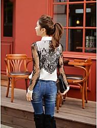 DABUWAWA Women's  Fashion Lace Long Sleeve Blouse