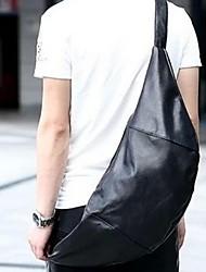 Unisex PU Sling Bag Shoulder Bag - Black