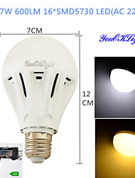 Ampoules Globe LED Décorative Blanc Chaud / Blanc Froid YouOKLight 1 pièce B E26/E27 5W / 7W 16 SMD 5730 600 LM AC 100-240 V
