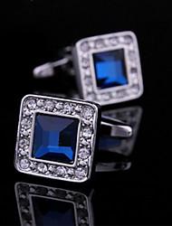 Fashion Copper Men Jewelry Silver  Square CZ Crystal Rhinestone Delicate Button Cufflinks(1Pair)