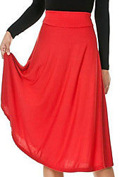 Women's Solid Red / Black Skirts , Party Midi