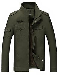 Men's Winter Warm Long Sleeve Jacket , Cotton Casual / Work / Plus Sizes Pure Jacket