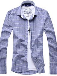 Men's Long Sleeve Shirt , Cotton / Linen Casual / Work / Formal / Plus Sizes Print / Striped / Plaids & Checks / Pure
