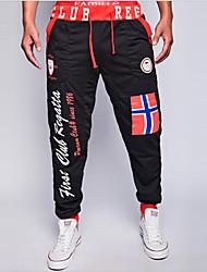 Hommes Ample Chino Pantalon,Street Chic Décontracté / Quotidien Imprimé / Lettre Taille Normale Cordon Coton / Polyester Micro-élastique
