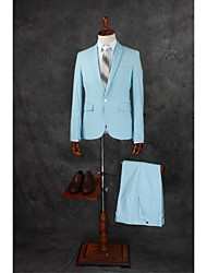 Suits Tailored Fit Notch Single Breasted One-button Cotton Blend Solid 2 Pieces Sky Blue