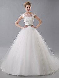 Ball Gown Wedding Dress Court Train Jewel Tulle with Sash / Ribbon / Appliques / Beading